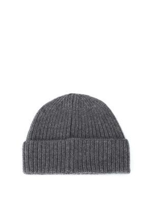 STONE ISLAND: berretti online - Berretto in lana a costine grigio melange