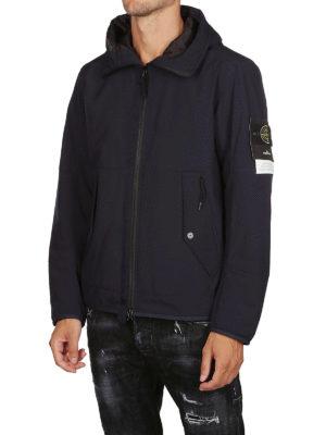 STONE ISLAND: giacche imbottite online - Giacca Soft Shell-R blu con cappuccio