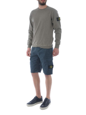 STONE ISLAND: pantaloni shorts online - Bermuda cargo in cotone petrolio