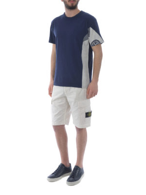 STONE ISLAND: pantaloni shorts online - Bermuda cargo in cotone bianco