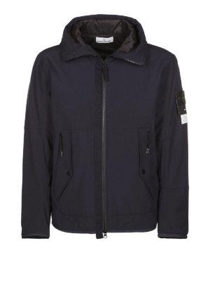 STONE ISLAND: giacche imbottite - Giacca Soft Shell-R blu con cappuccio