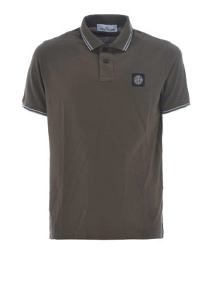 Stone Island: polo shirts - Army-green hue stretch polo shirt