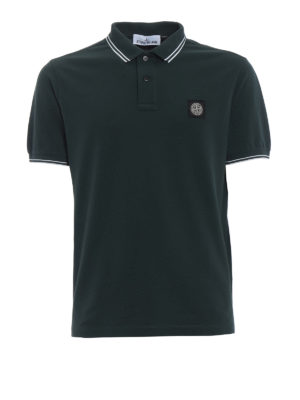 Stone Island: polo shirts - Dark green stretch polo shirt
