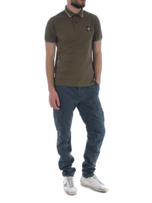 Stone Island: polo shirts online - Army-green hue stretch polo shirt
