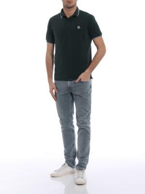 Stone Island: polo shirts online - Dark green stretch polo shirt