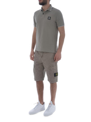 Stone Island: polo shirts online - Taupe stretch cotton polo shirt