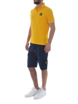 Stone Island: polo shirts online - Yellow stretch cotton polo shirt