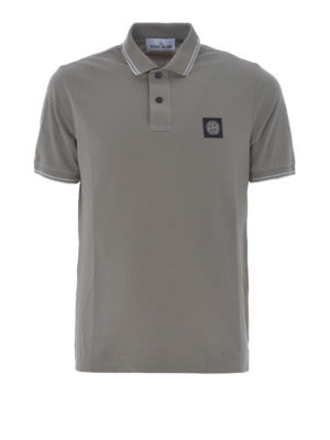 Stone Island: polo shirts - Taupe stretch cotton polo shirt