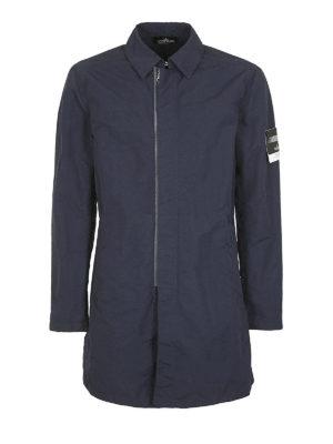 STONE ISLAND: cappotti corti - Cappottino in Naslan antigoccia blu