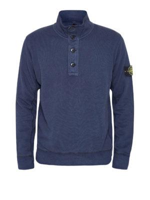 Stone Island: Sweatshirts & Sweaters - Buttoned collar sweatshirt