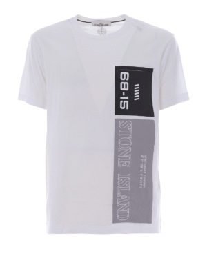 Stone Island: t-shirts - Graphic Nine white cotton Tee