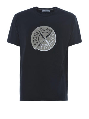 Stone Island: t-shirts - Graphic Ten black cotton T-shirt