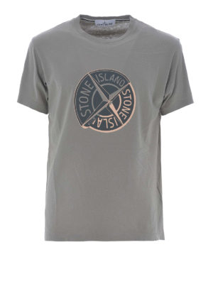 Stone Island: t-shirts - Graphic Ten taupe cotton T-shirt