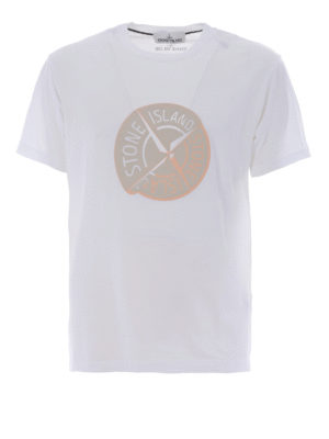Stone Island: t-shirts - Graphic Ten white cotton Tee