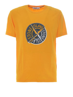Stone Island: t-shirts - Graphic Ten yellow cotton T-shirt