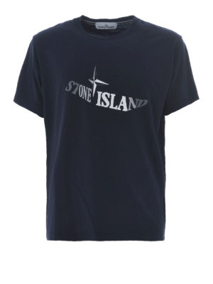 Stone Island: t-shirts - Graphic Twelve dark blue T-shirt