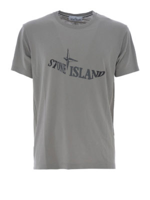 Stone Island: t-shirts - Graphic Twelve taupe cotton Tee