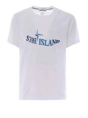 Stone Island: t-shirts - Graphic Twelve white cotton Tee