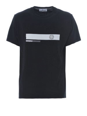 Stone Island: t-shirts - Graphic Two black cotton T-shirt