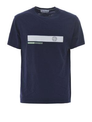 Stone Island: t-shirts - Graphic Two blue cotton T-shirt