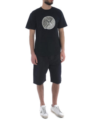 Stone Island: t-shirts online - Graphic Ten black cotton T-shirt