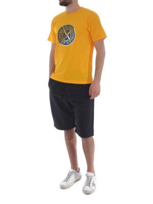 Stone Island: t-shirts online - Graphic Ten yellow cotton T-shirt