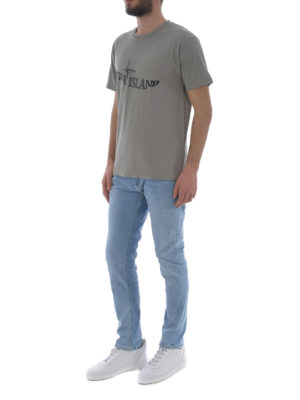 Stone Island: t-shirts online - Graphic Twelve taupe cotton Tee