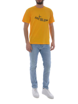 Stone Island: t-shirts online - Graphic Twelve yellow T-shirt