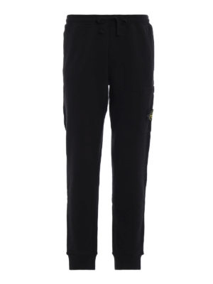 STONE ISLAND: pantaloni sport - Pantaloni da tuta in cotone felpato