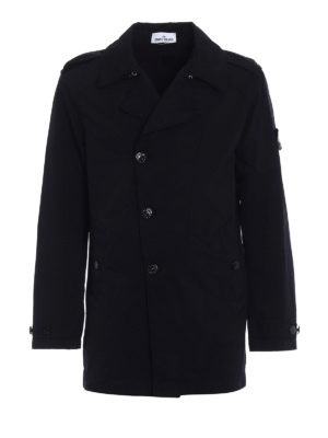 Stone Island: trench coats - Dark blue David-TC trench coat