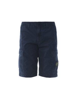 STONE ISLAND: pantaloni shorts - Bermuda cargo in cotone blu scuro