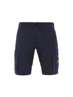 Stone Island: Trousers Shorts - Gabardine cotton cargo shorts