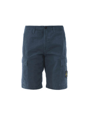 STONE ISLAND: pantaloni shorts - Bermuda cargo in cotone petrolio
