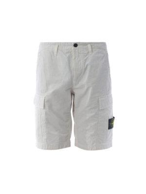 STONE ISLAND: pantaloni shorts - Bermuda cargo in cotone bianco