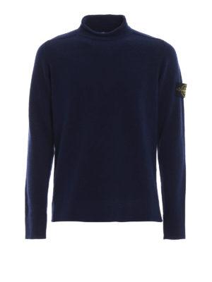 STONE ISLAND: maglia a collo alto e polo - Lupetto in misto lana blu