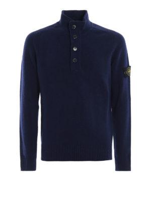 STONE ISLAND: maglia a collo alto e polo - Lupetto in misto lana blu con zip e bottoni
