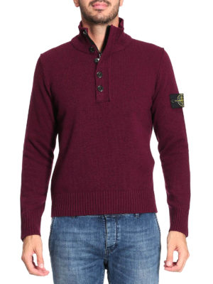Stone Island: Turtlenecks & Polo necks online - Wool blend zip detail turtleneck
