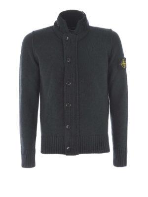 Stone Island: Turtlenecks & Polo necks - Wool blend knitted cardigan