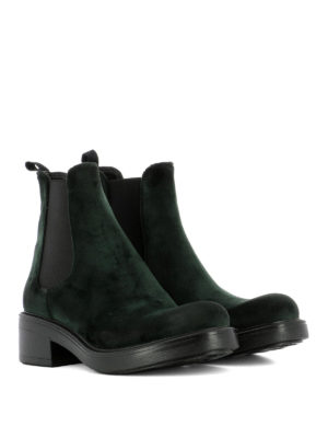Strategia: ankle boots online - Dark green velvet ankle boots