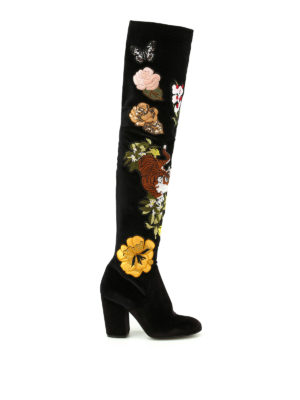 Strategia: boots - Alice embroidered velvet boots