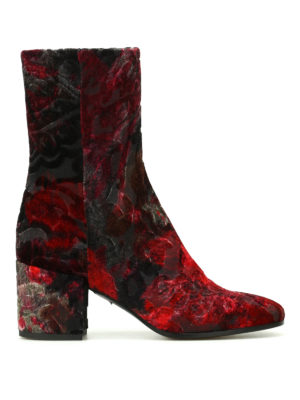 Strategia: boots - Devoré velvet zipped boots