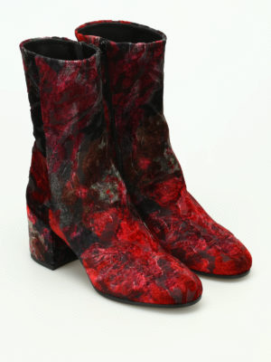 Strategia: boots online - Devoré velvet zipped boots