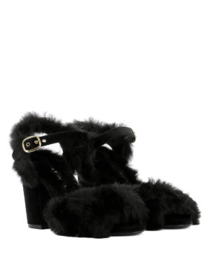 Strategia: sandals online - Black fur heeled sandals