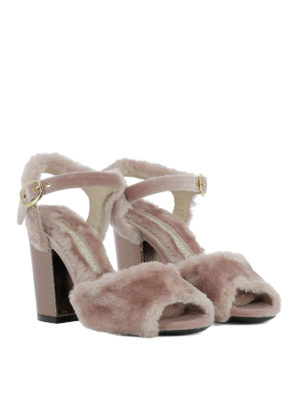 Strategia: sandals online - Pink fur heeled sandals