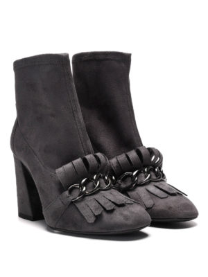 Stuart Weitzman: ankle boots online - Fringe and chain suede booties