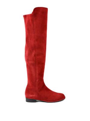 Stuart Weitzman: boots - Allgood scarlet suede boots