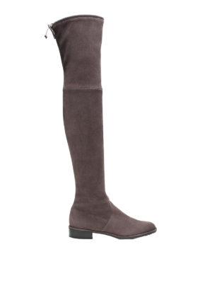 Stuart Weitzman: stivali - Stivali Lowland in camoscio color asphalt