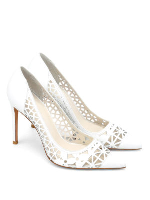 Stuart Weitzman: court shoes online - Cutuptown laser-cut leather pumps
