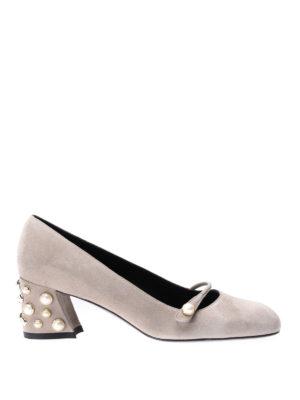 Stuart Weitzman: court shoes - Pearlstrap suede low pumps