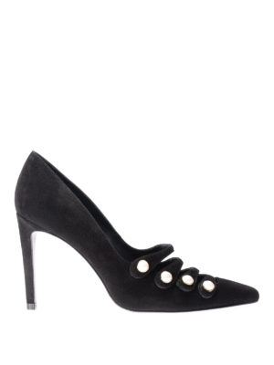 Stuart Weitzman: court shoes - Strappypearl suede pointy pumps